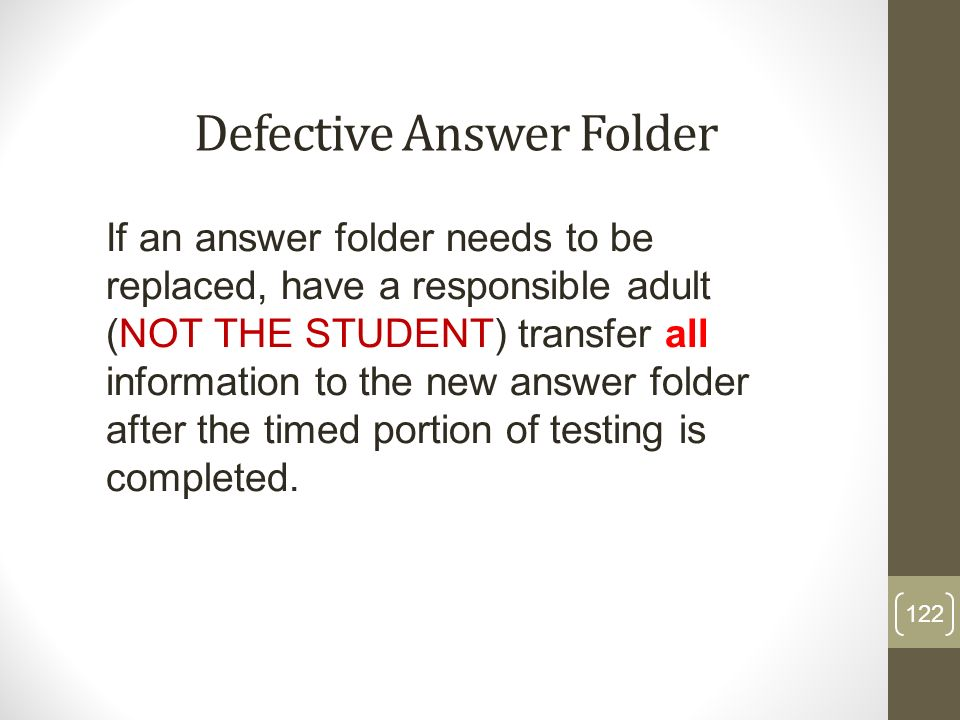 Defective Answer Folder