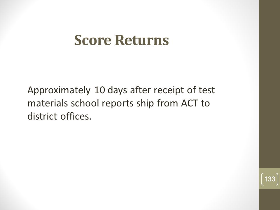 Score ReturnsApproximately 10 days after receipt of test materials school reports ship from ACT to district offices.