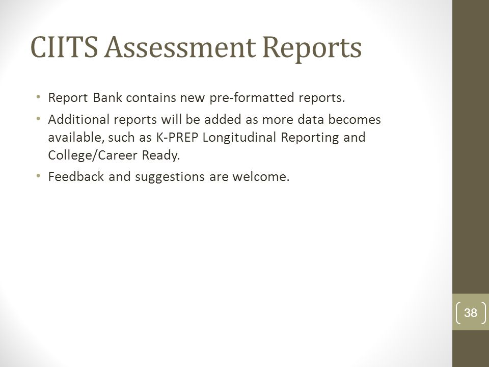 CIITS Assessment Reports