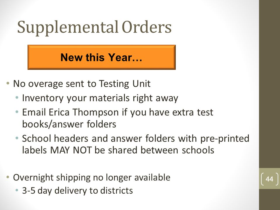 Supplemental Orders New this Year… No overage sent to Testing Unit