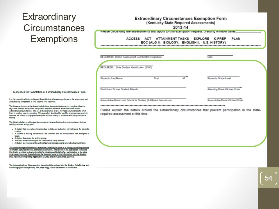 Extraordinary Circumstances Exemptions