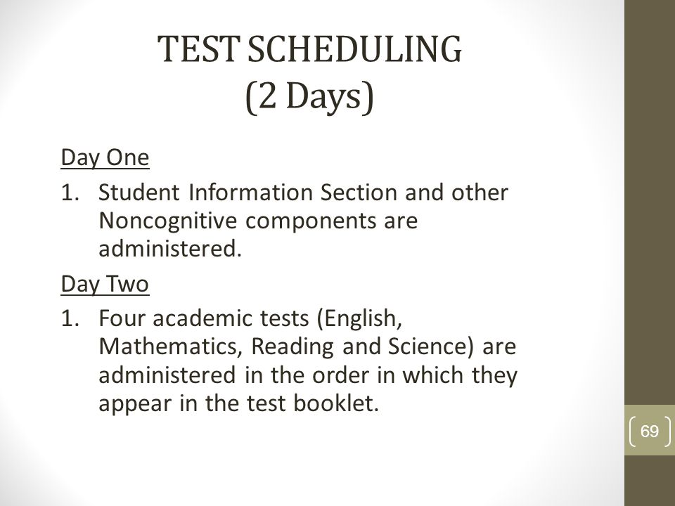 TEST SCHEDULING (2 Days)