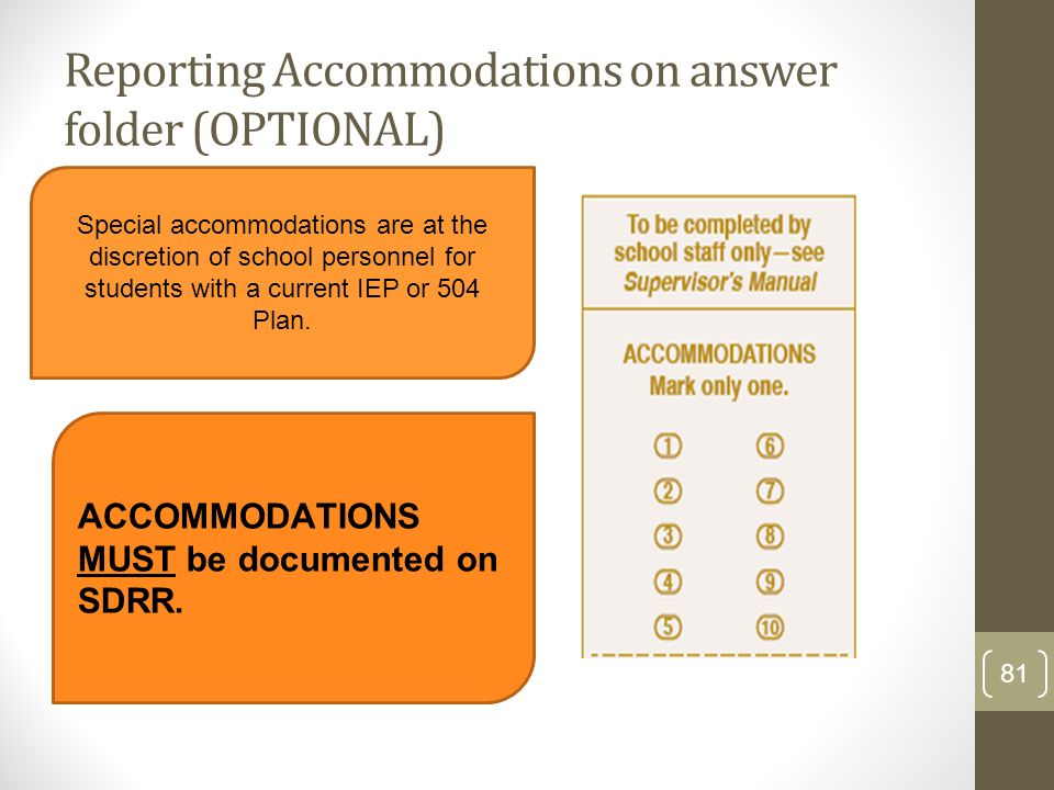Reporting Accommodations on answer folder (OPTIONAL)