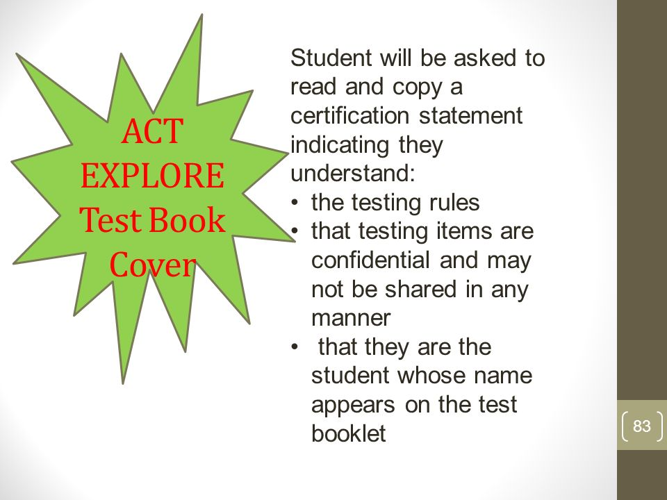 ACT EXPLORE Test Book Cover