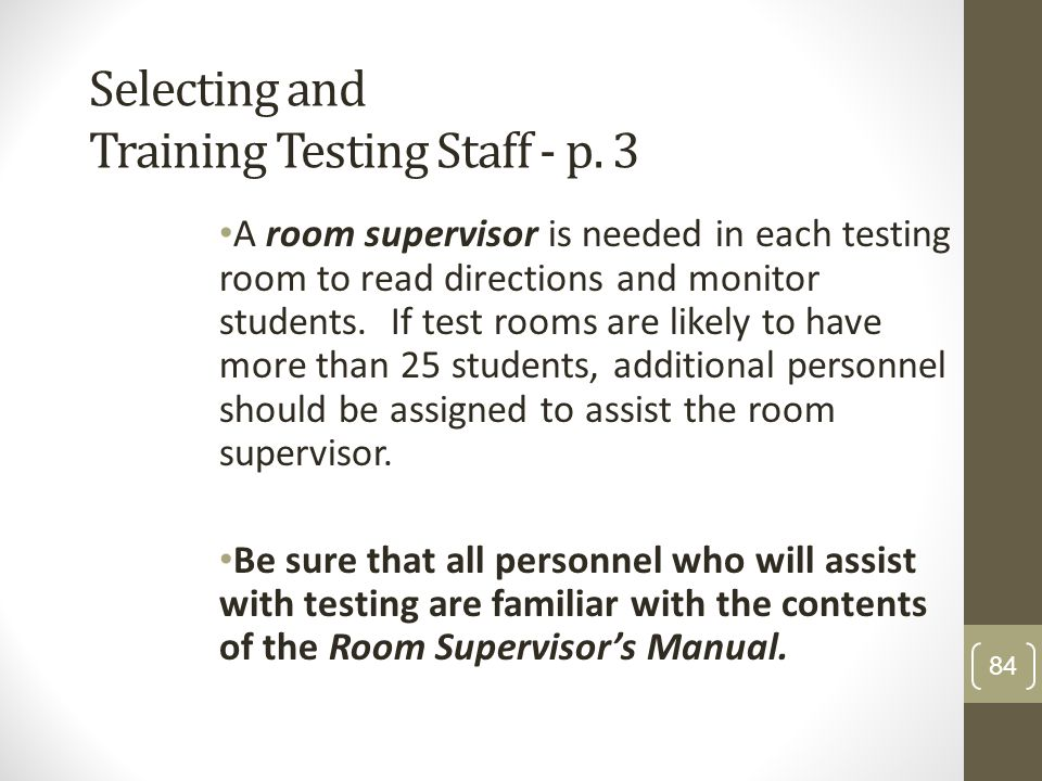Selecting and Training Testing Staff - p. 3