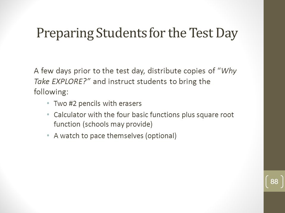 Preparing Students for the Test Day