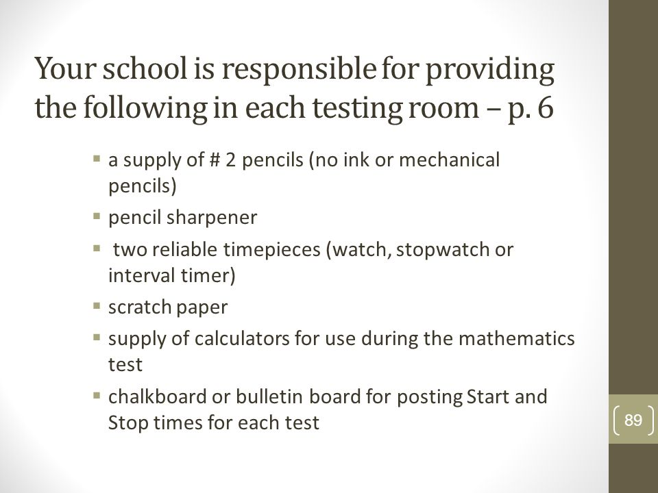 Your school is responsible for providing the following in each testing room – p. 6