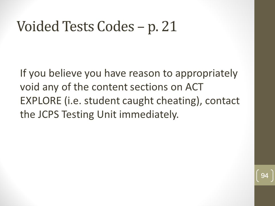 Voided Tests Codes – p. 21
