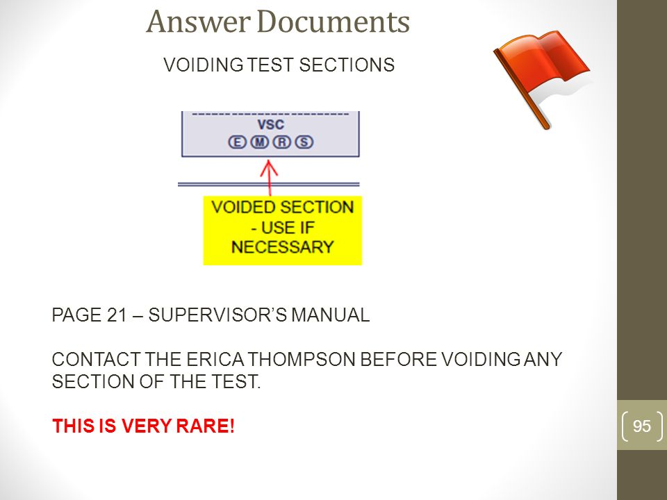 Answer Documents VOIDING TEST SECTIONS PAGE 21 – SUPERVISOR'S MANUAL