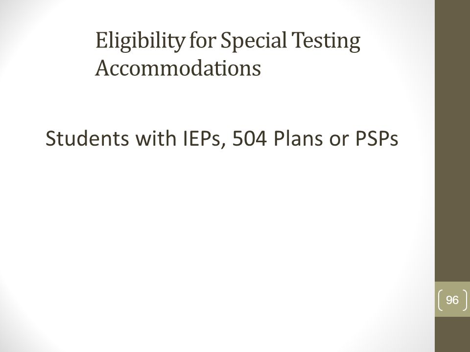 Eligibility for Special Testing Accommodations