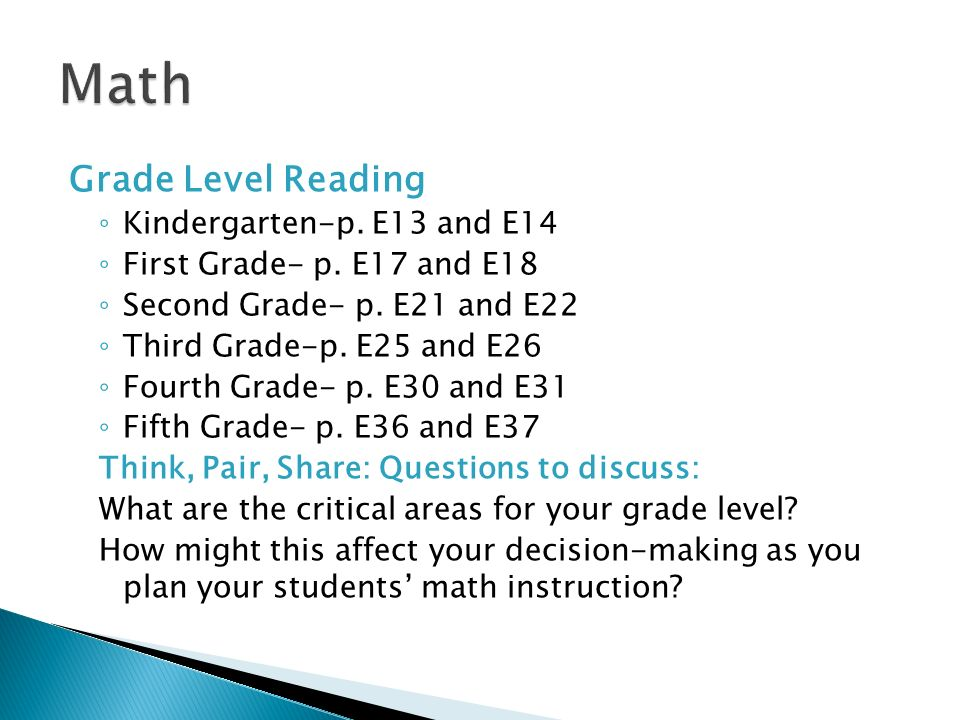 Math Grade Level Reading Kindergarten-p. E13 and E14