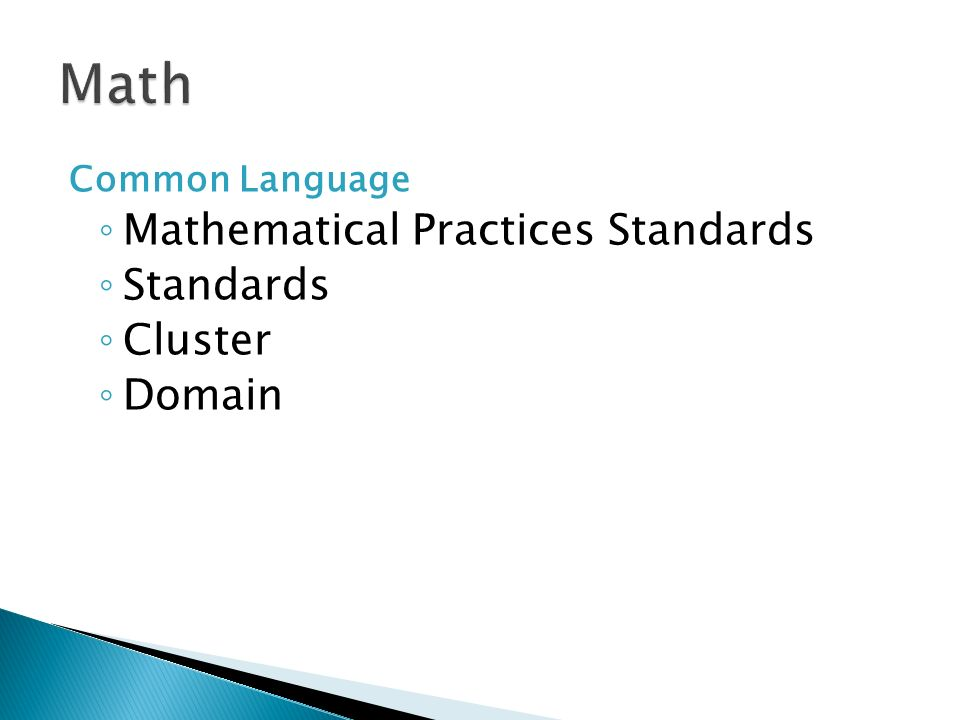 Math Mathematical Practices Standards Standards Cluster Domain