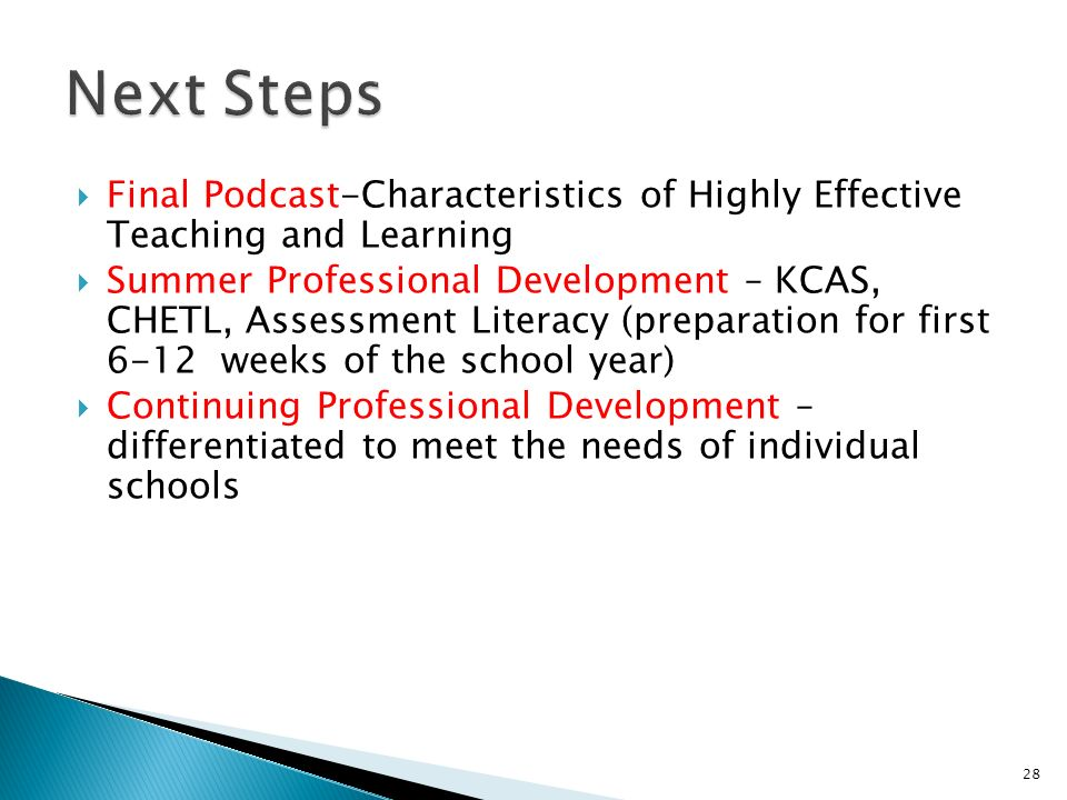 Next Steps Final Podcast-Characteristics of Highly Effective Teaching and Learning.