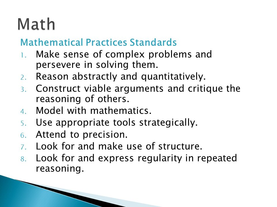 Math Mathematical Practices Standards