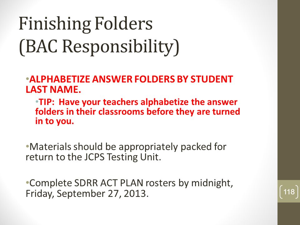 Finishing Folders (BAC Responsibility)