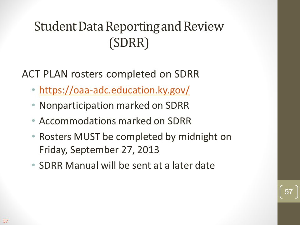 Student Data Reporting and Review (SDRR)