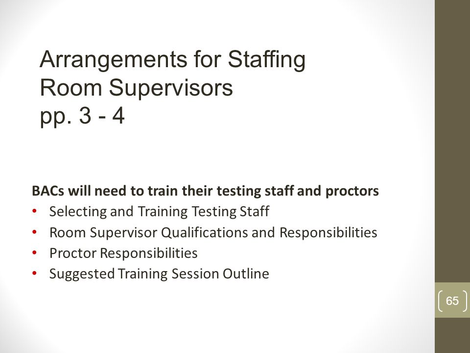 Arrangements for Staffing Room Supervisors pp