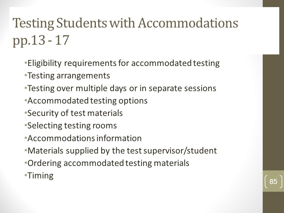 Testing Students with Accommodations pp