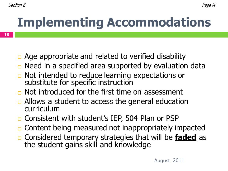 Implementing Accommodations