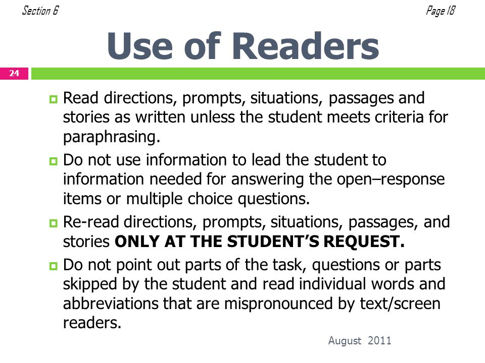 Section 6 Page 18. Use of Readers.