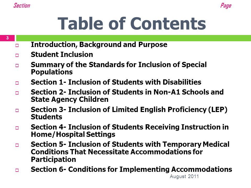 Table of Contents Introduction, Background and Purpose