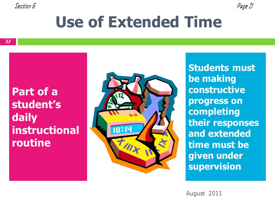 Use of Extended Time Part of a student's daily instructional routine