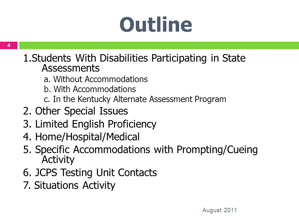 Outline 1.Students With Disabilities Participating in State Assessments. a. Without Accommodations.