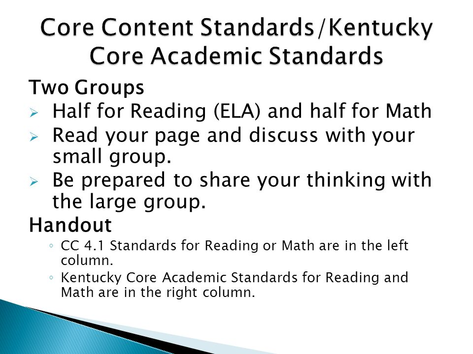 Core Content Standards/Kentucky Core Academic Standards