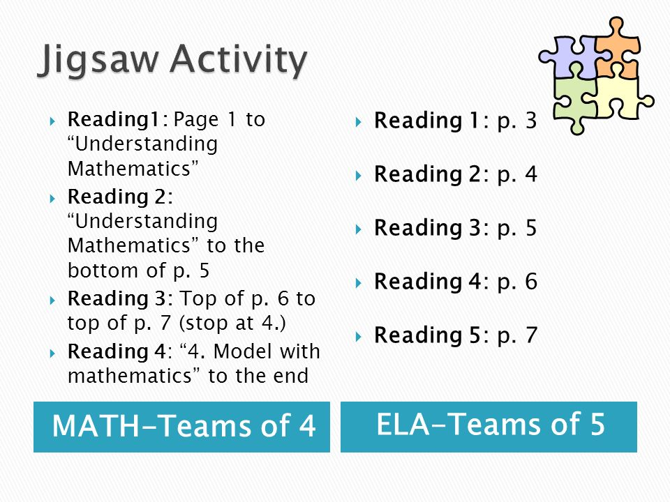 Jigsaw Activity MATH-Teams of 4 ELA-Teams of 5 Reading 1: p. 3