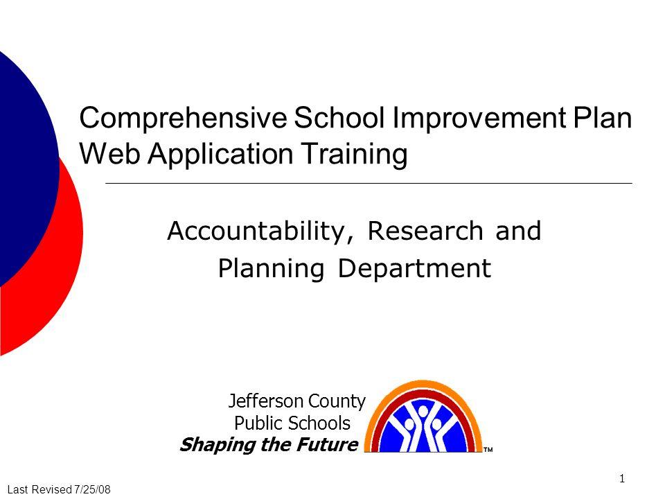 Comprehensive School Improvement Plan Web Application Training