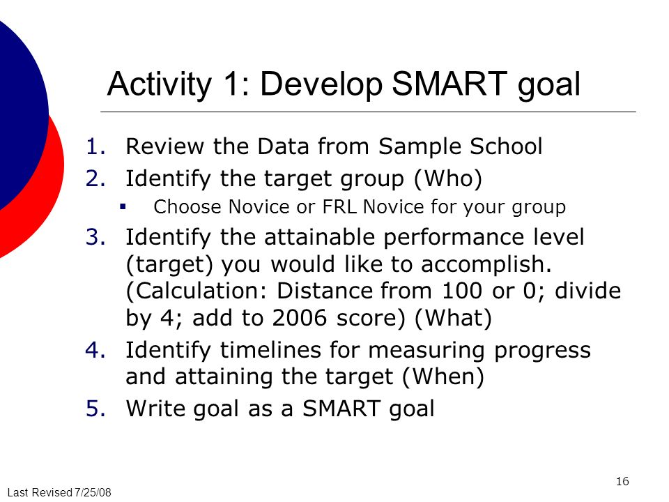 Activity 1: Develop SMART goal