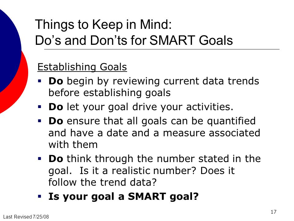 Things to Keep in Mind: Do's and Don'ts for SMART Goals