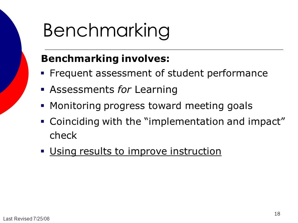 Benchmarking Assessments for Learning Benchmarking involves:
