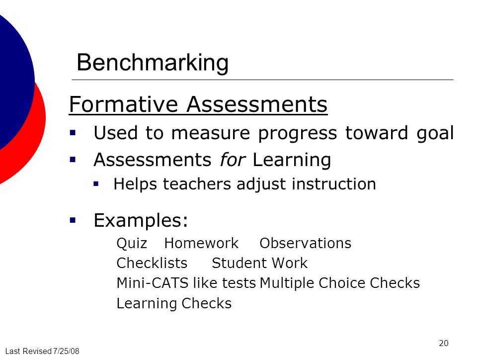 Benchmarking Formative Assessments