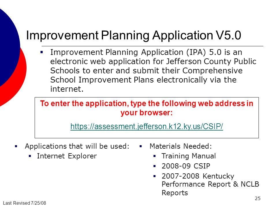 Improvement Planning Application V5.0