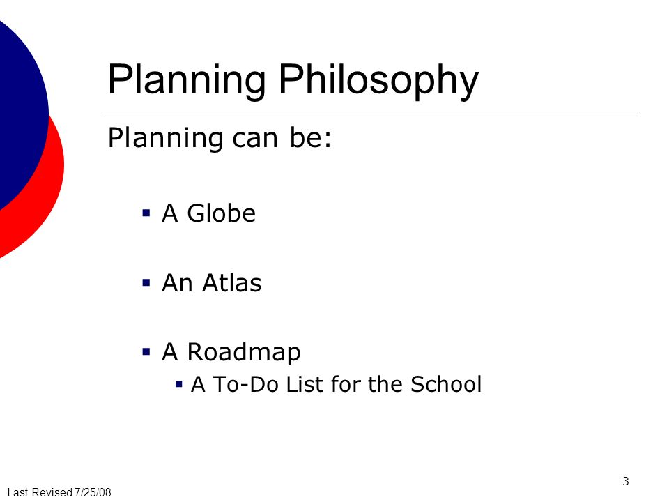 Planning Philosophy Planning can be: A Globe An Atlas A Roadmap