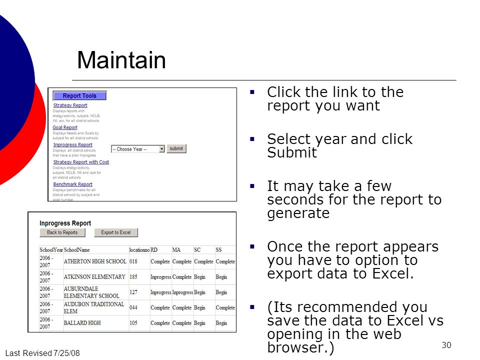 Maintain Click the link to the report you want