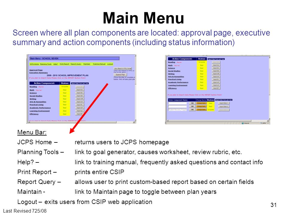 Main Menu Screen where all plan components are located: approval page, executive summary and action components (including status information)