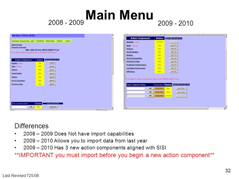 Main Menu 2008 - 2009 2009 - 2010 Differences