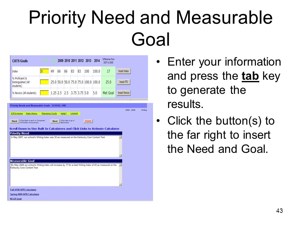 Priority Need and Measurable Goal