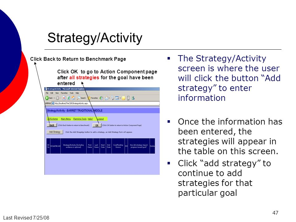 Strategy/Activity The Strategy/Activity screen is where the user will click the button Add strategy to enter information.