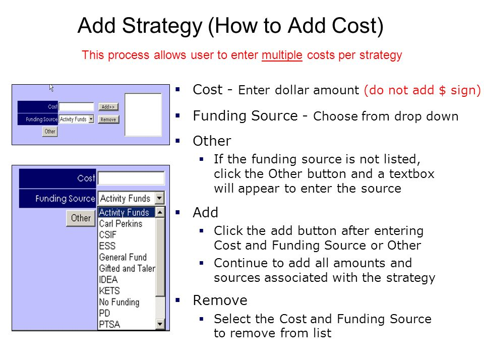 Add Strategy (How to Add Cost)