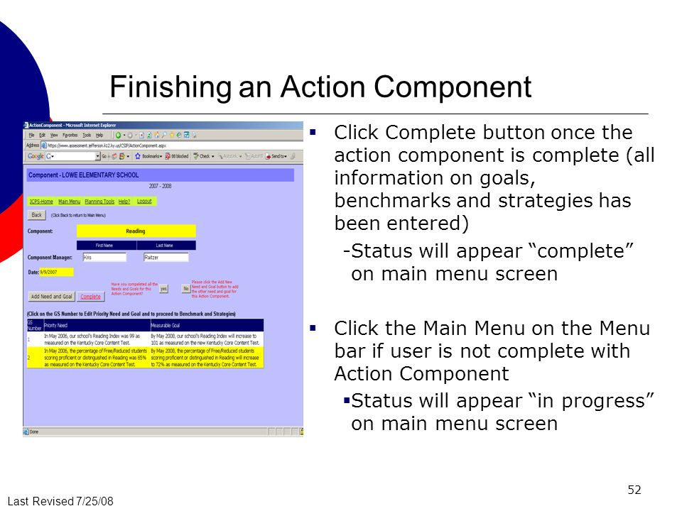 Finishing an Action Component