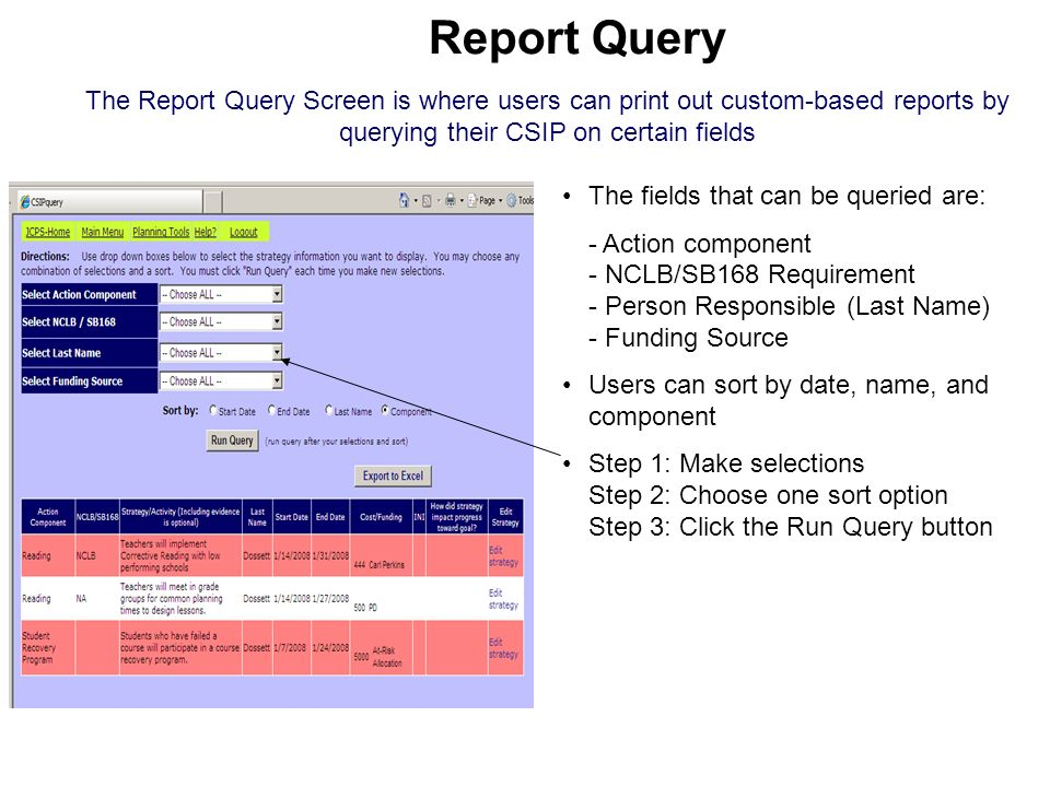 Report Query The Report Query Screen is where users can print out custom-based reports by querying their CSIP on certain fields.