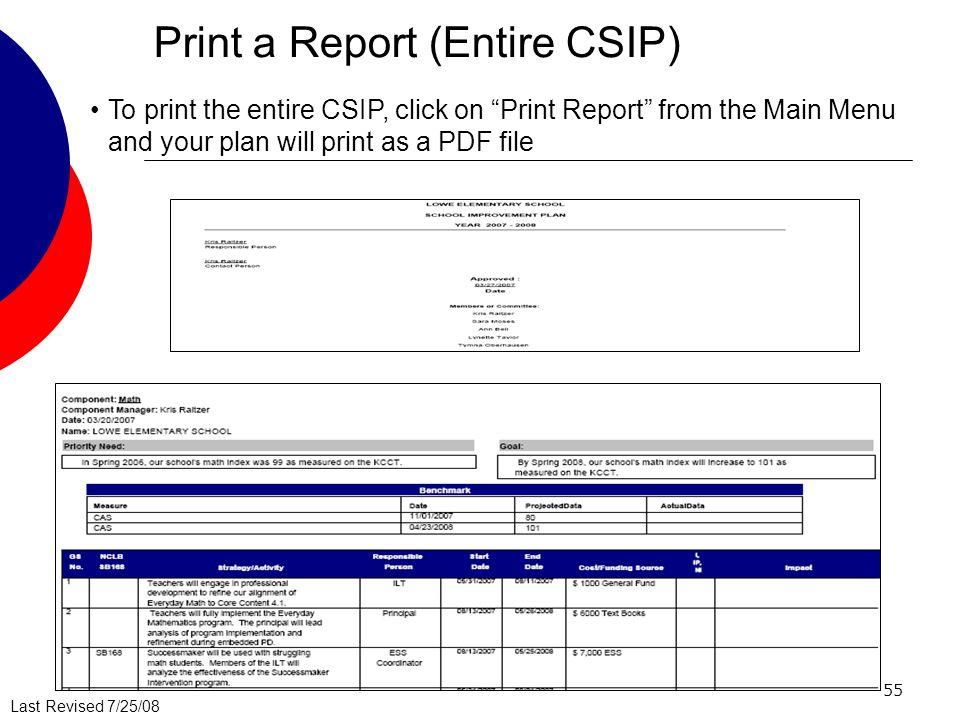 Print a Report (Entire CSIP)