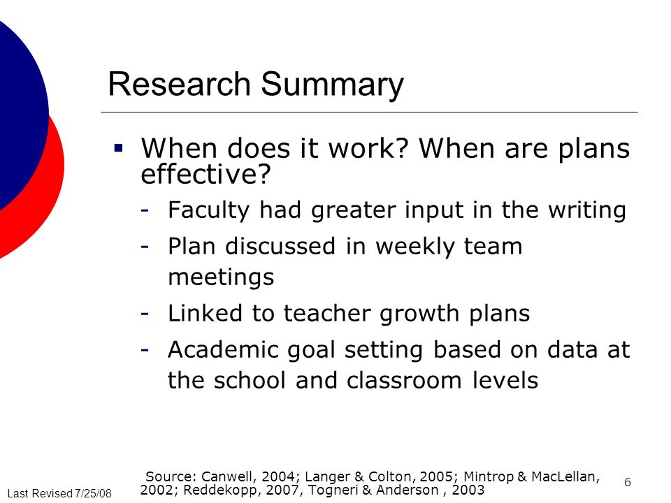 Research Summary When does it work When are plans effective