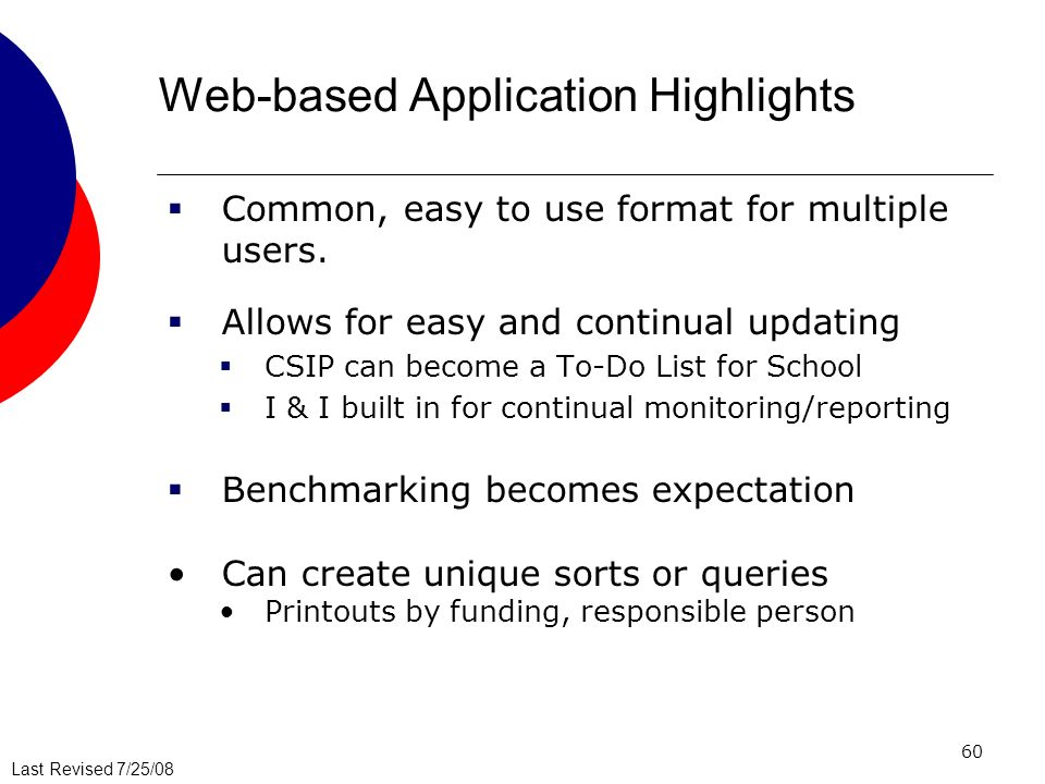 Web-based Application Highlights