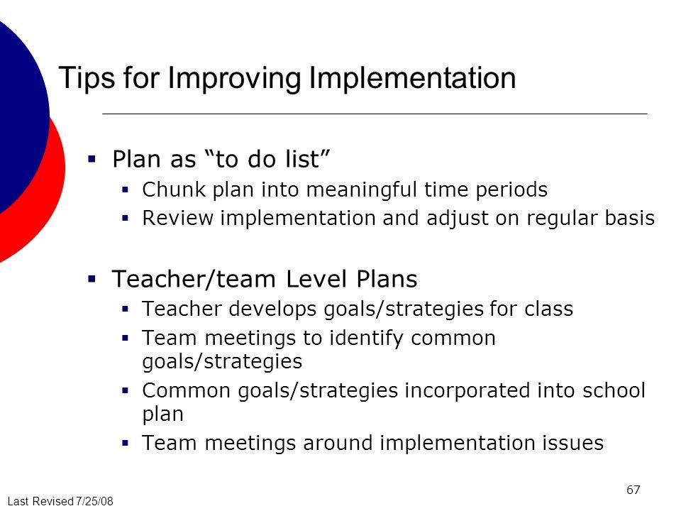 Tips for Improving Implementation