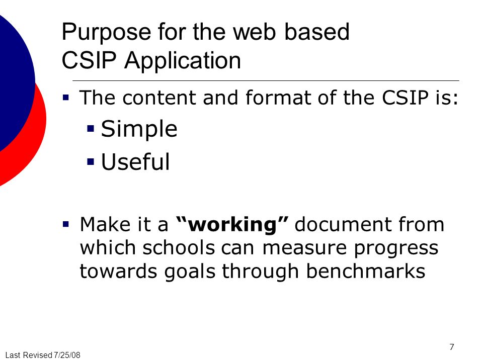 Purpose for the web based CSIP Application