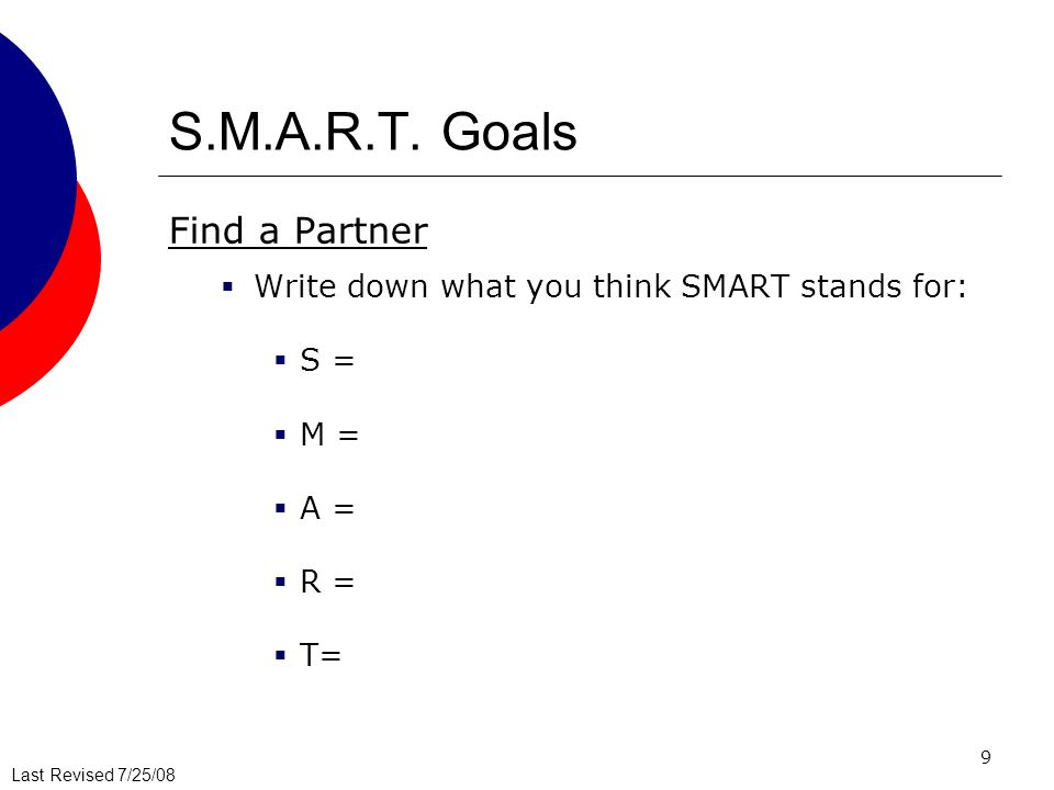 S.M.A.R.T. Goals Find a Partner